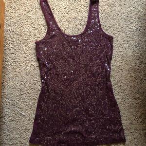Express deep purple sequin tank top